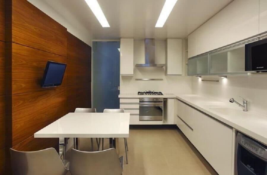 decoração de cozinha planejada de canto branca Foto AS Decoradora