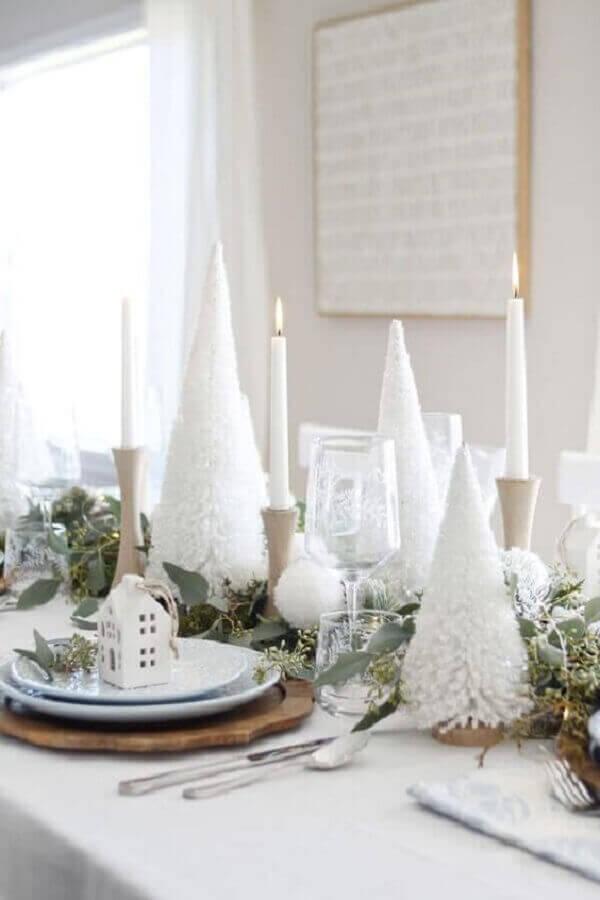 decoração de mesa natalina branca e verde Foto Christmas Glitter