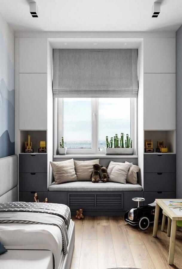decoração de quarto de solteiro pequeno planejado cinza e branco Foto Pinterest