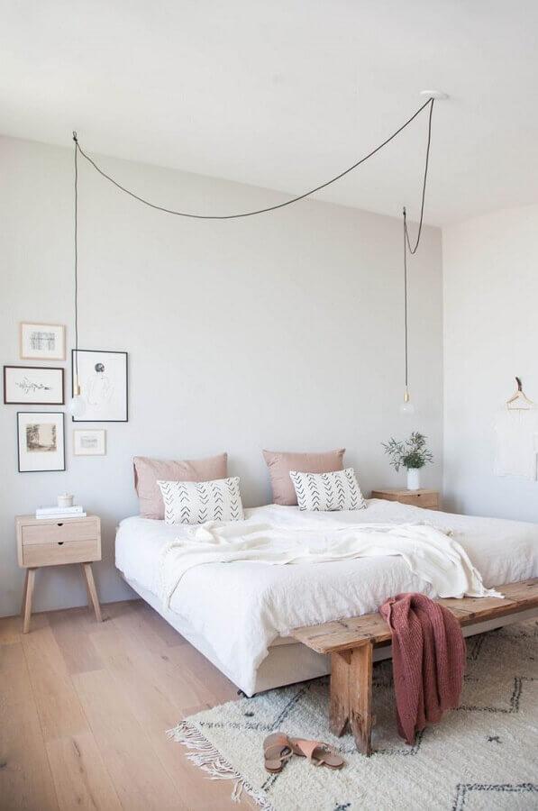 decoração minimalista para quarto com luminária pendente de cabeceira Foto Pinterest