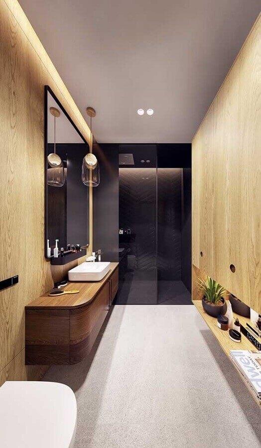 decoração moderna com pendente para bancada de banheiro de madeira  Foto Architecture Art Designs