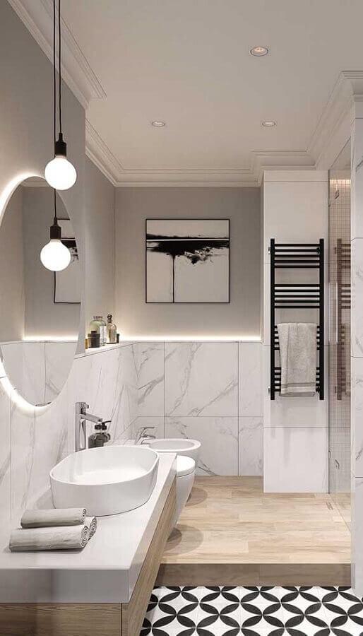 decoração moderna com pendente para bancada de banheiro todo branco Foto Architecture Art Designs