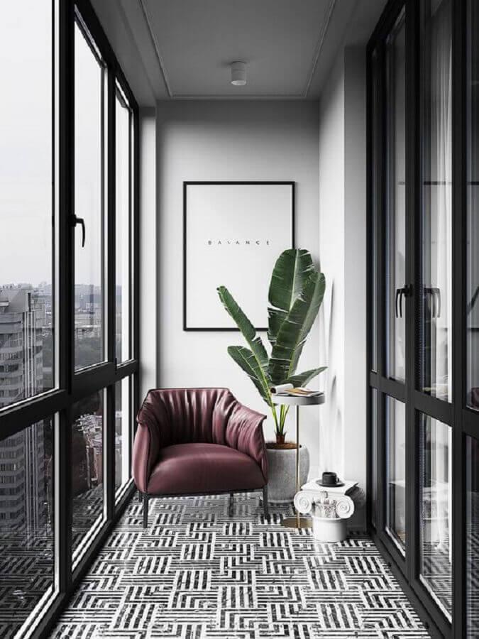 decoração moderna com vasos de plantas para varanda pequena  Foto Behance