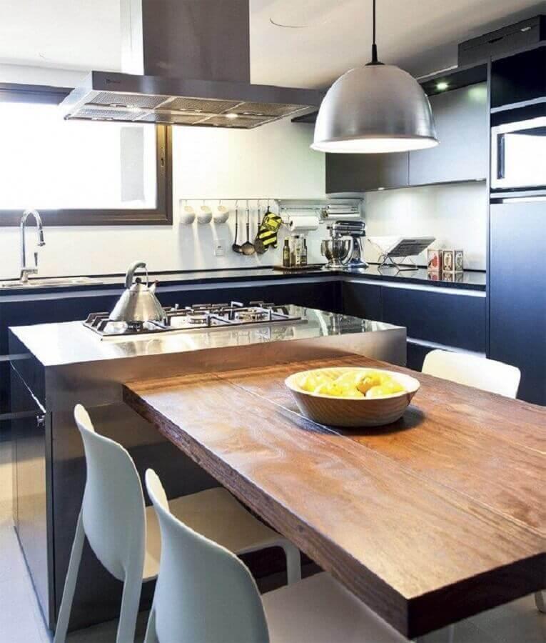decoração moderna para cozinha de canto planejada com ilha Foto Planènte Déco