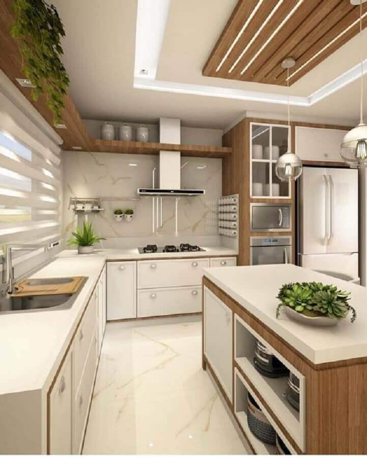 decoração para cozinha de canto com ilha Foto Jeito de Casa