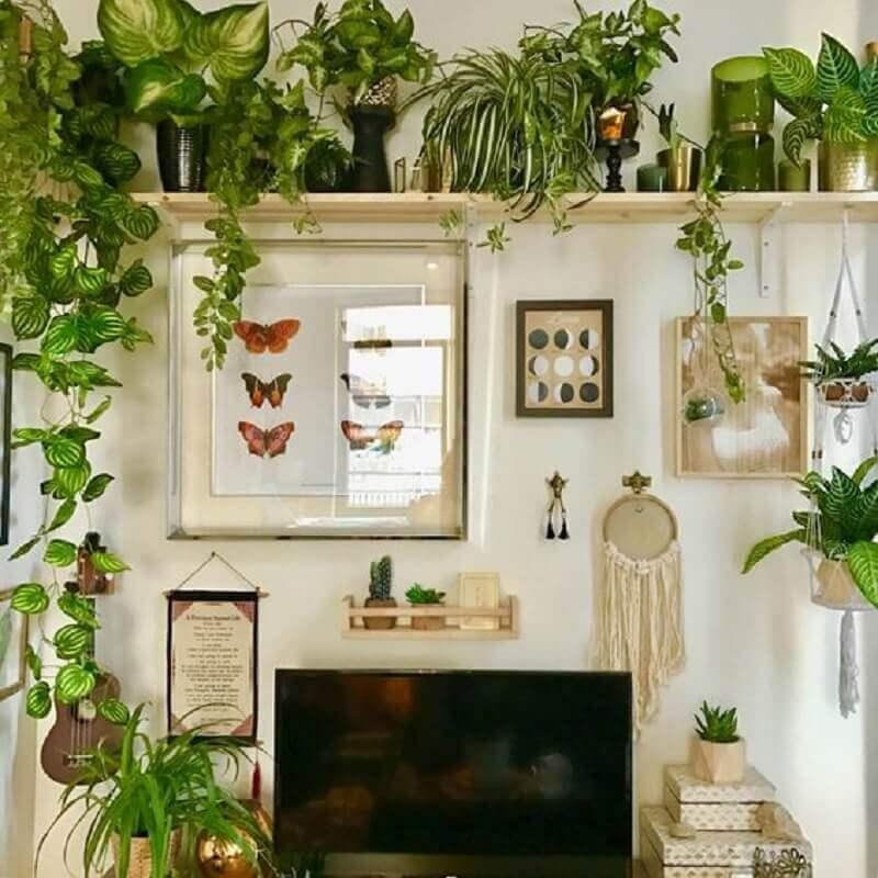 decoração simples com prateleira para plantas  Foto Messy By Design