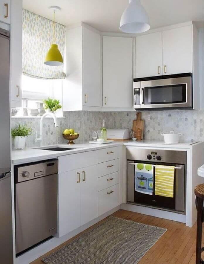 decoração simples para cozinha de canto pequena branca Foto Melani House Ideas