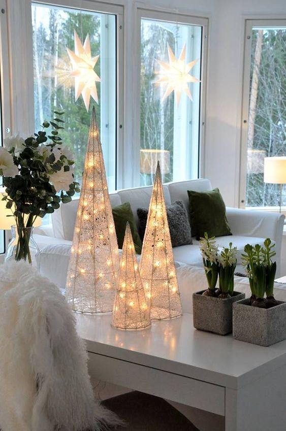 Decoração iluminada com estrela de natal