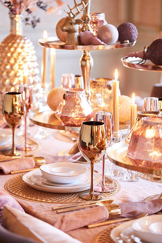 Decoração para ceia de reveillon rosé gold