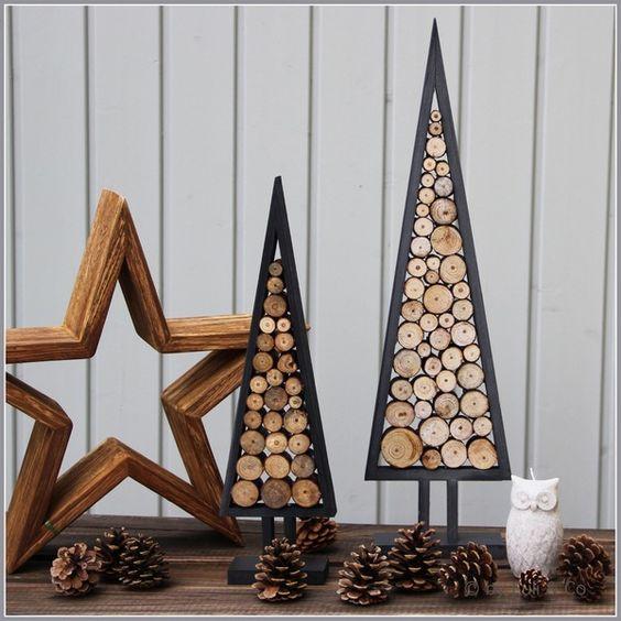Estrela de natal de madeira na decoração rústica