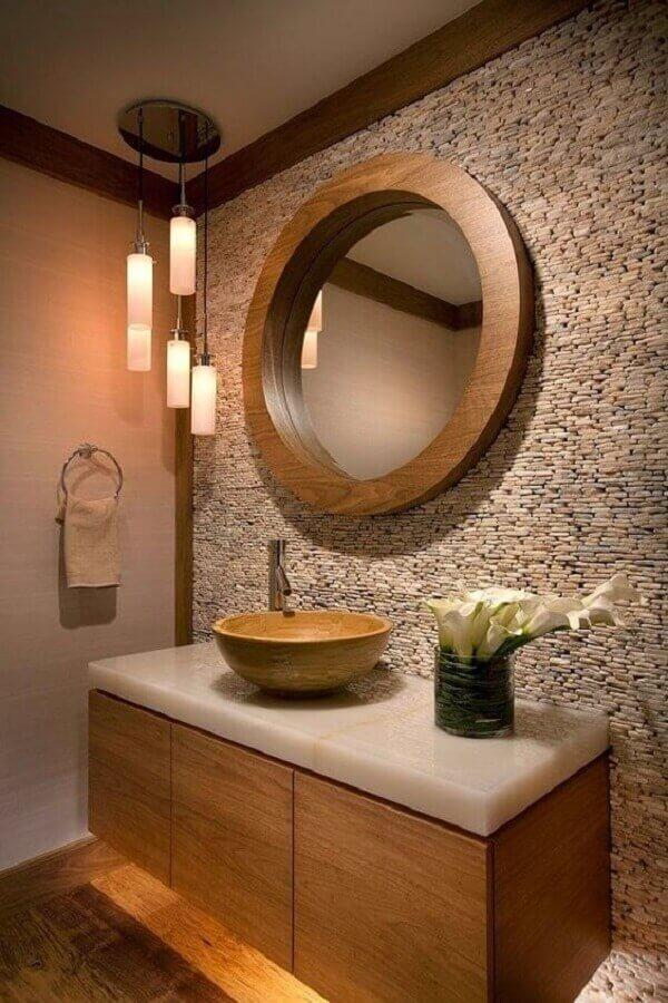 detalhes rústicos para decoração com pendente para bancada de banheiro com espelho redondo de madeira Foto Pinterest