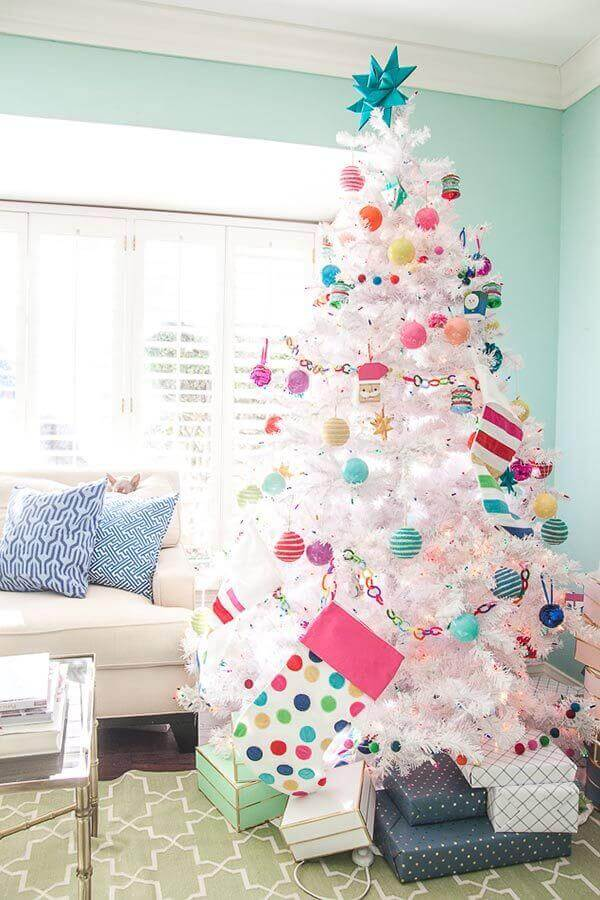 colorful decorations for decorating large white Christmas tree Photo OhMeOhMy