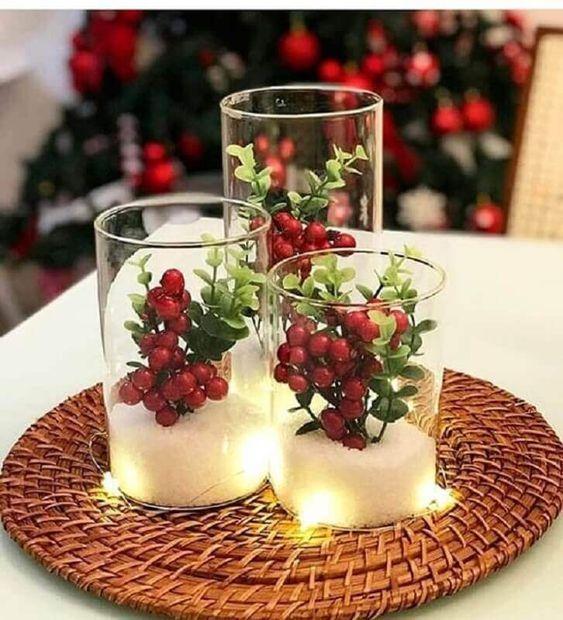 Enfeites de natal para mesa bem decorada
