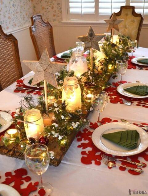 Enfeites de natal para mesa com estrelas
