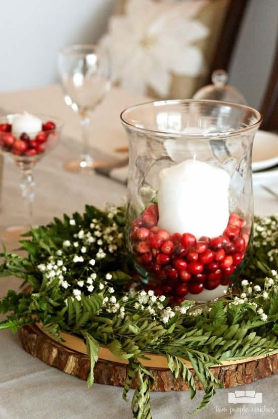 Enfeites de natal para mesa de jantar moderna
