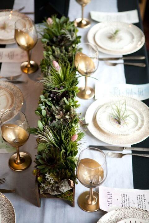 Enfeites de natal para mesa feitos de suculenta
