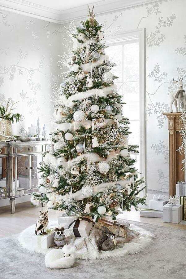 silver ornaments for decoration of big Christmas tree Photo Fresh IDEEN