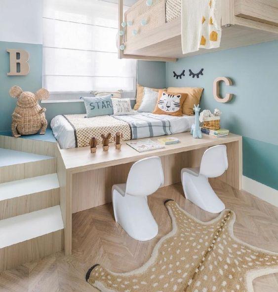Escrivaninha infantil com cama moderna