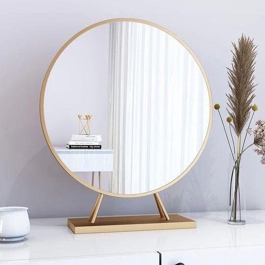 Espelho redondo de mesa dourado