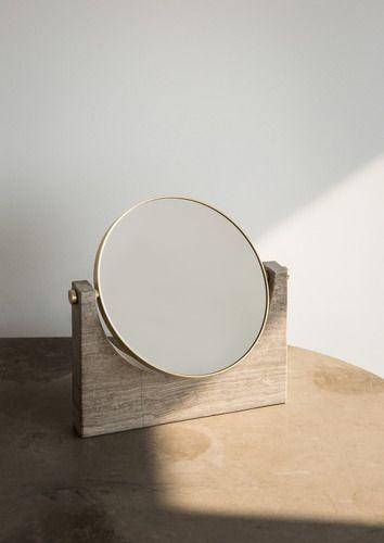 Espelho de mesa madeira redondo