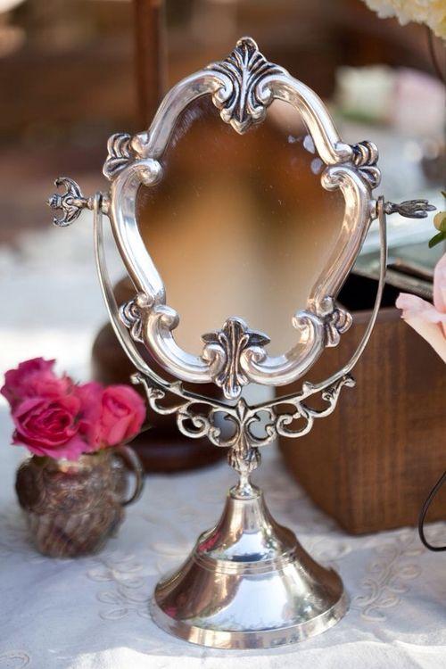 Espelho de mesa vintage prateado