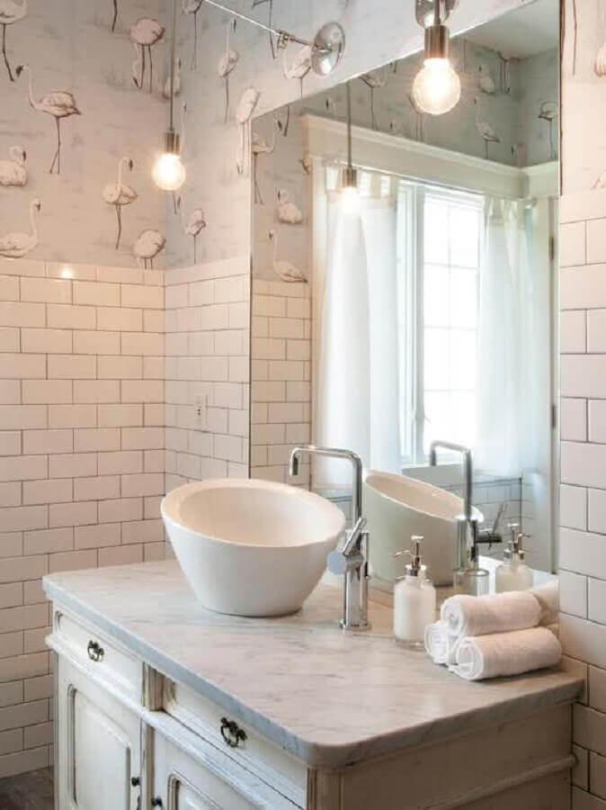estampa de cisne para papel de parede para banheiro branco simples  Foto Houzz