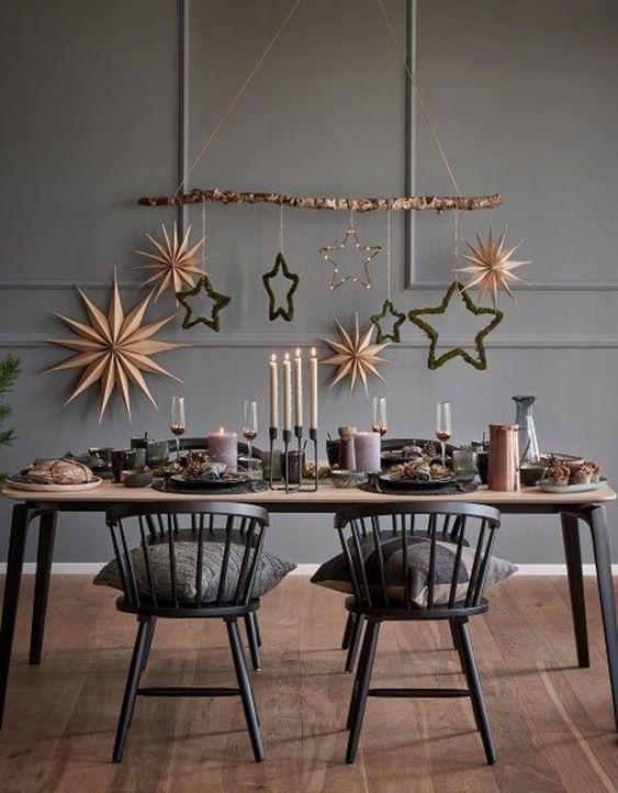 Estrela de natal na decoração da sala
