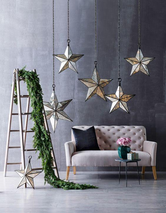 Estrela de natal na decoração da sala de estar