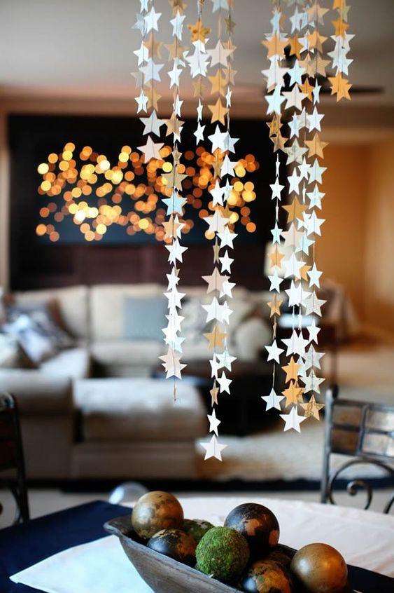 Estrela de natal na decoração de casa