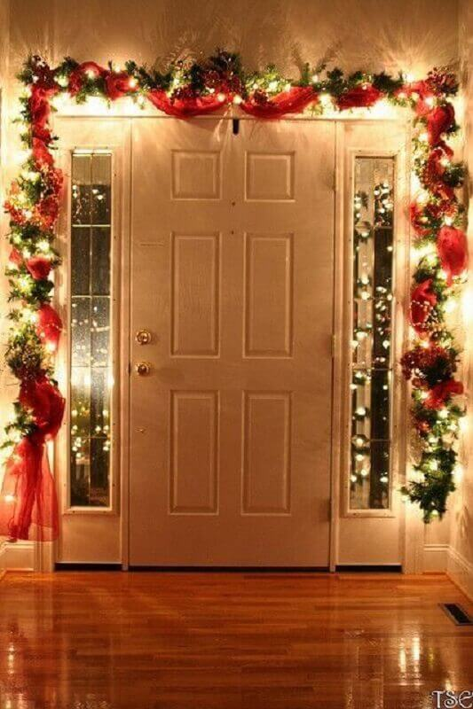 Christmas party with blinker and red ribbon for door entry Photo Pinterest