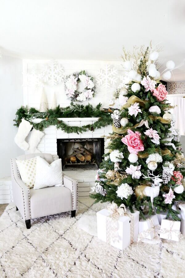 christmas party for white room decoration with fireplace Photo The Wow Decor