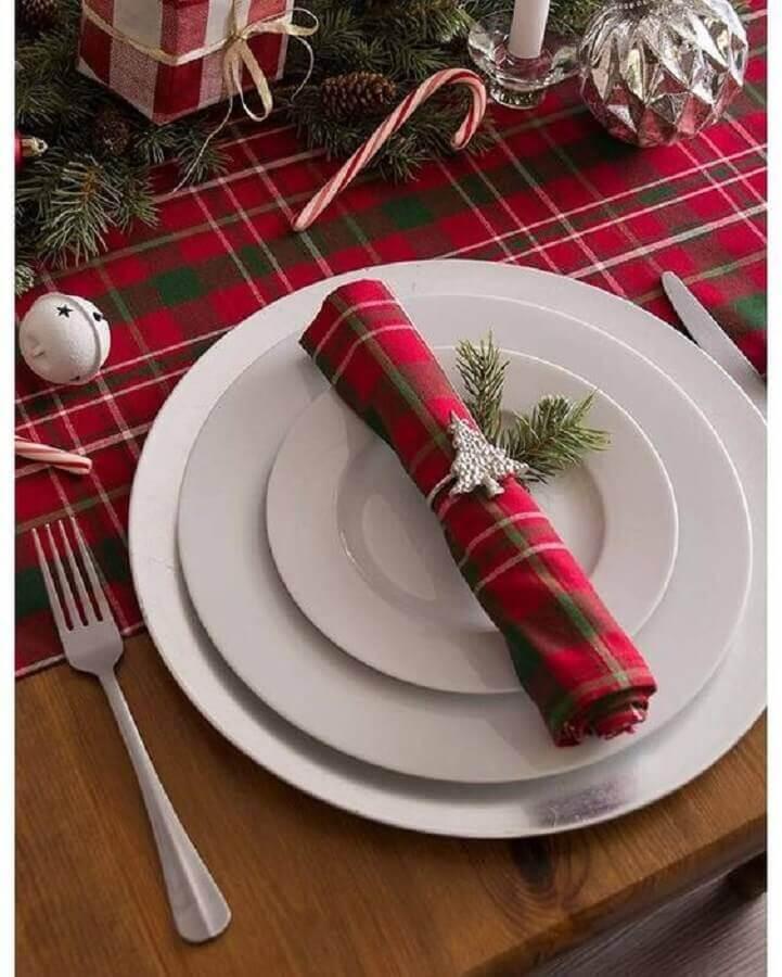 guardanapo xadrez vermelho decorado para mesa natalina Foto ShopStyle