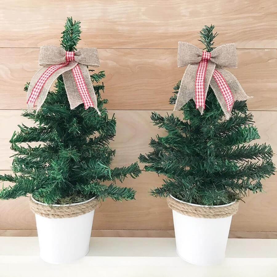 Christmas decoration ideas with mini pine trees Photo The Latina Next Door