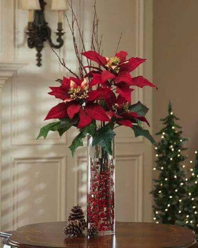 ideas for Christmas decoration with red flower arrangement Photo Handicraft Magazine