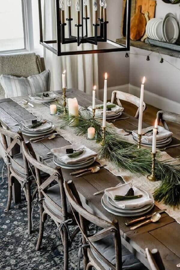 ideas for decorating rustic and simple Christmas table Photo How to do at Home