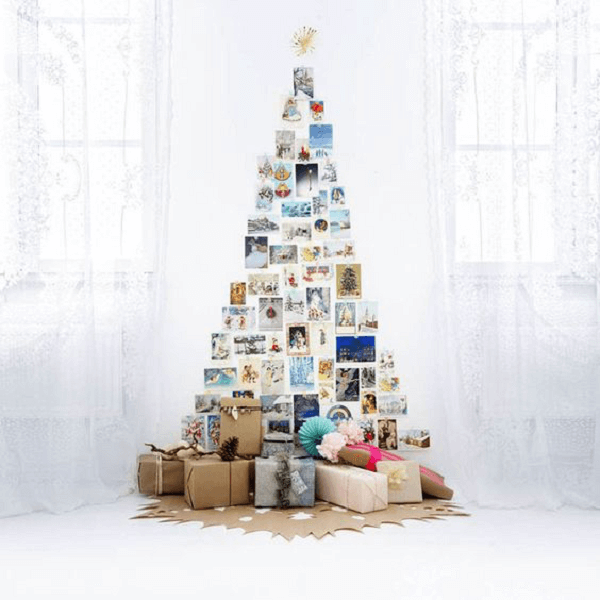Decoração de árvore de natal diferente com fotos da família