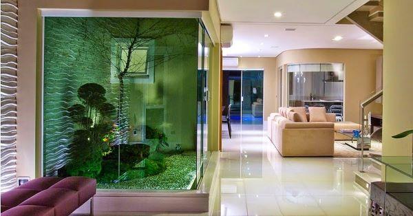 Jardim de inverno com pedra seixo
