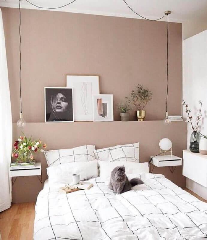 luminária pendente de cabeceira para quarto branco e rosa  Foto Decostore