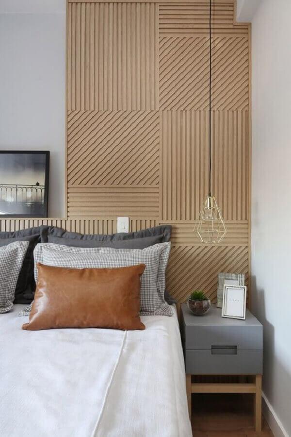 luminária pendente de cabeceira para quarto com revestimento 3d Foto Home Fashion Trend