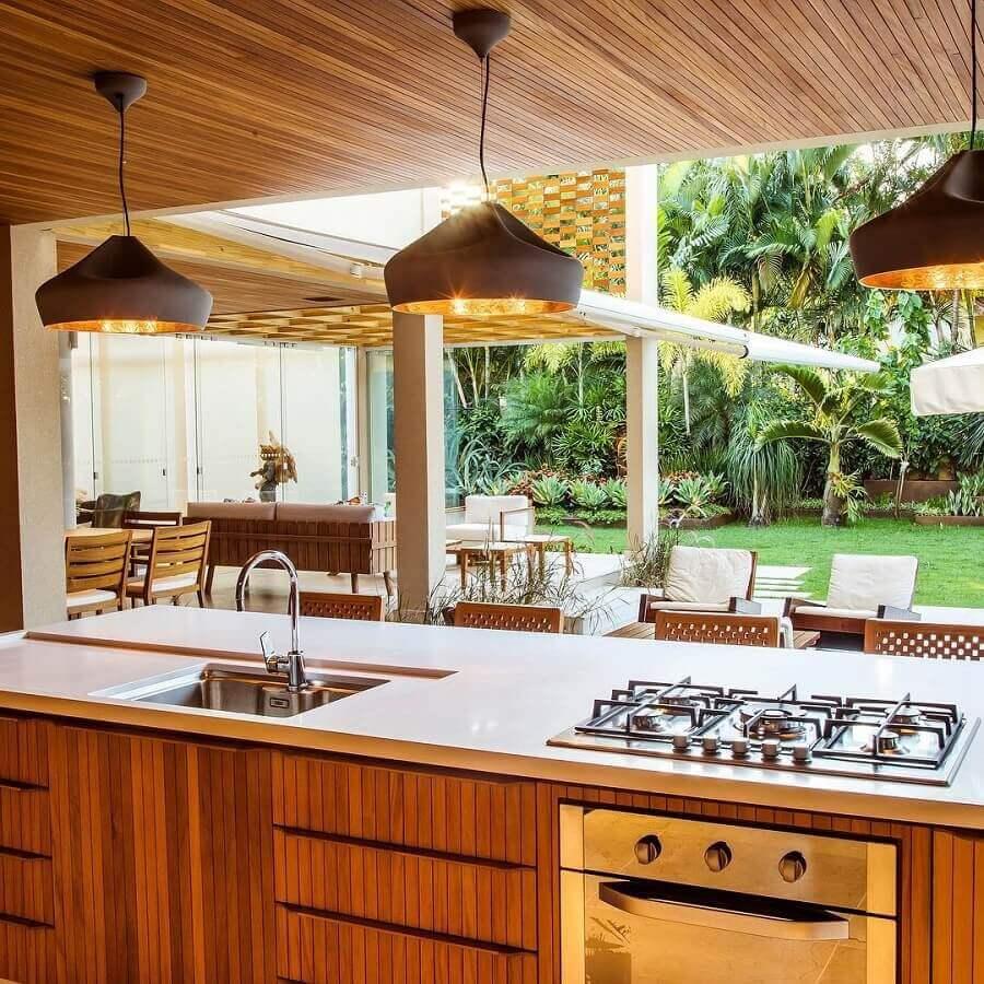 luminária pendente para bancada de cozinha gourmet Foto Roberto Aracri Arquitetura