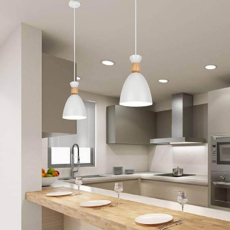 luminária pendente para bancada de madeira para cozinha cinza Foto Pinterest