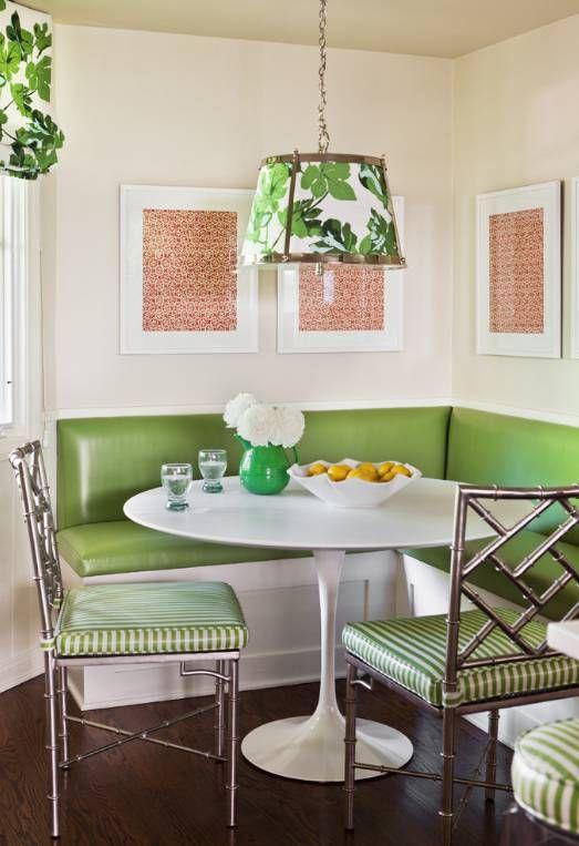 Mesa de jantar de canto alemão verde