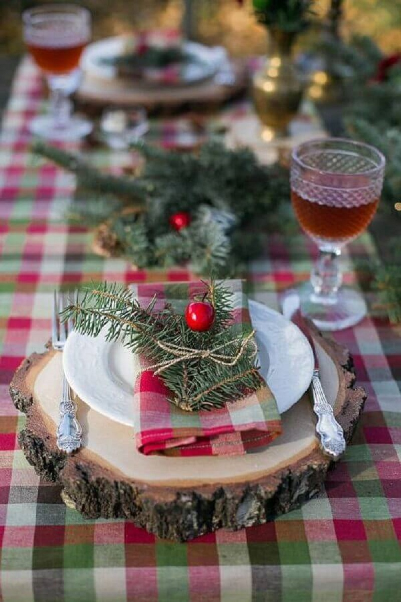 Christmas table decorated with rustic wood cookie and checkered tablecloth Photo Etsy