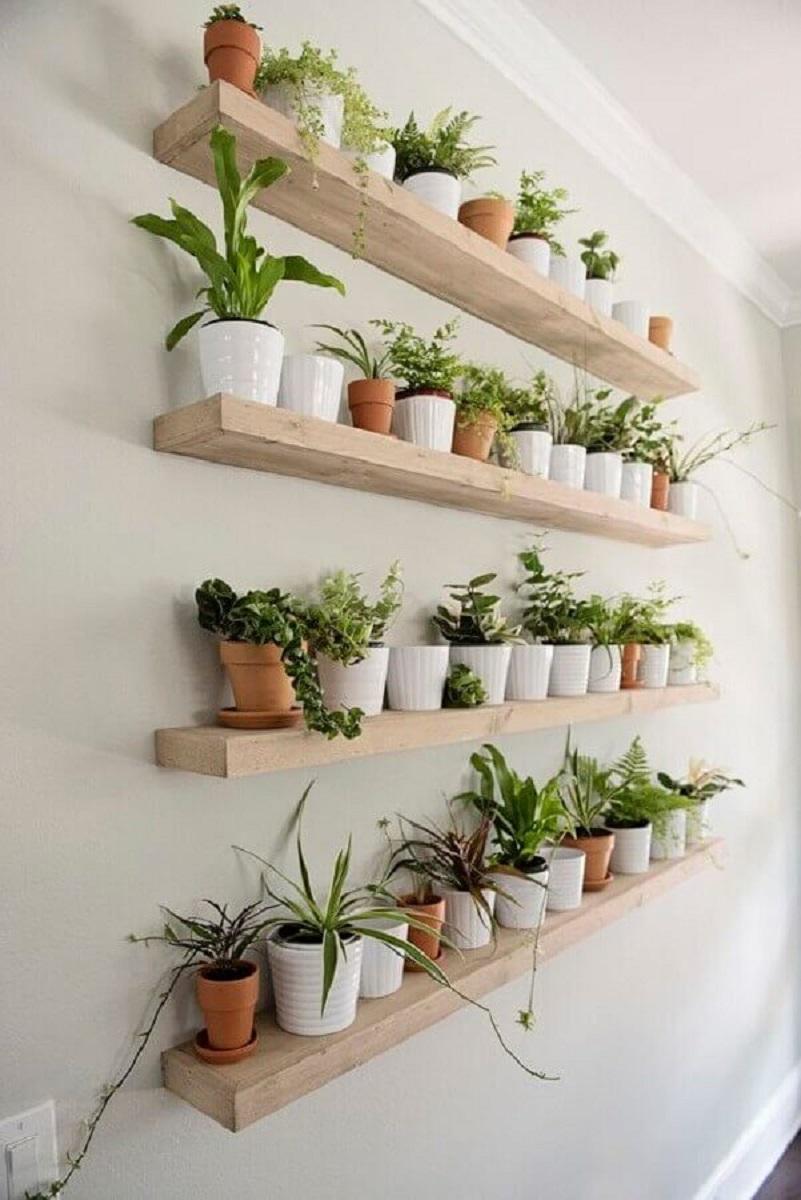 modelo de prateleira estreita de madeira para plantas Foto Etsy