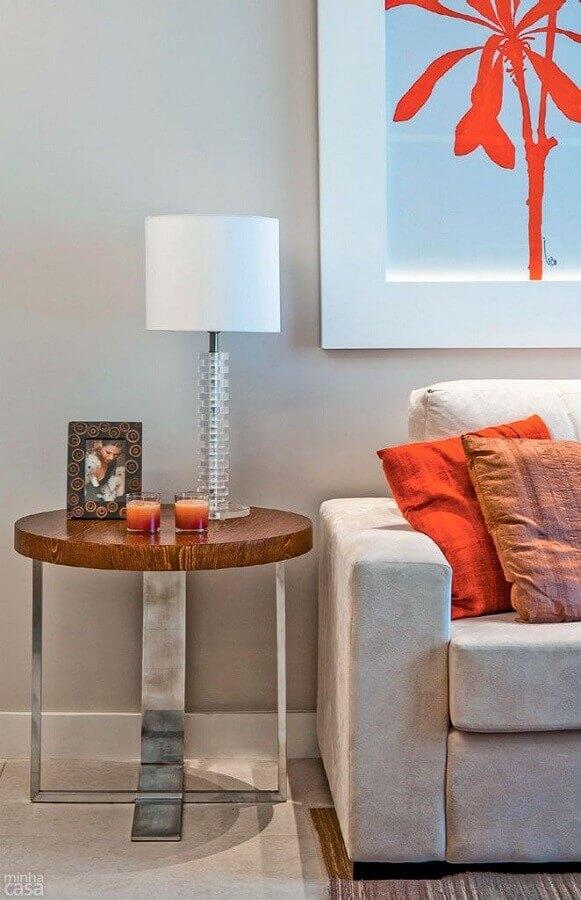 modelo moderno de mesa de canto redonda madeira para decoração de sala de estar Foto Pinterest