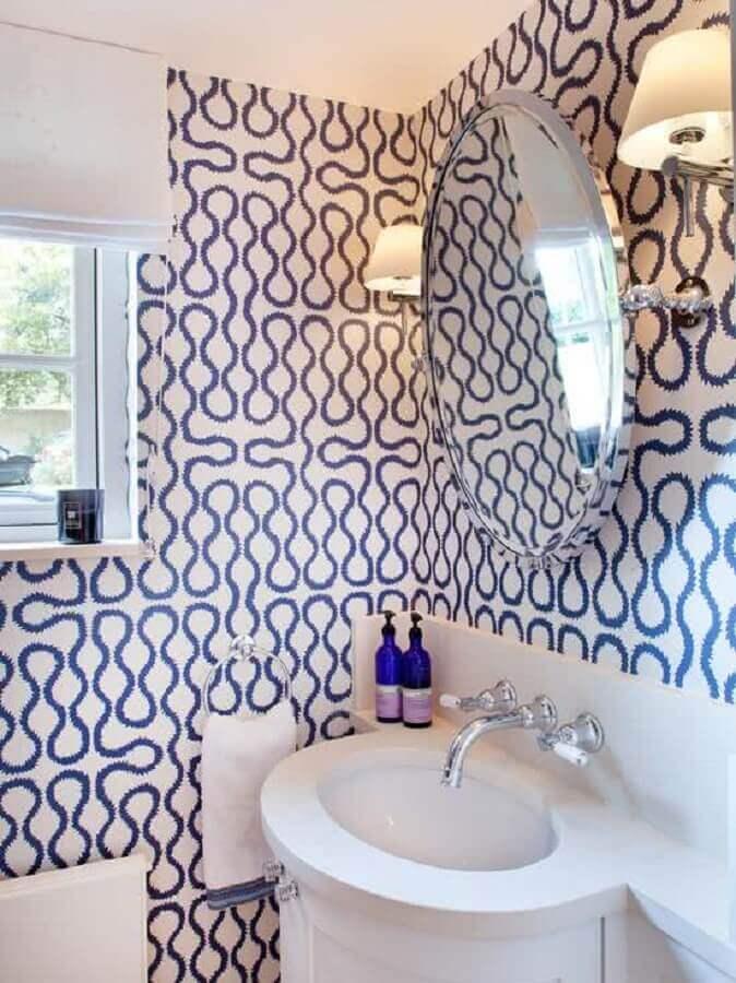 papel de parede para banheiro azul e branco Foto Ideias para Decorar