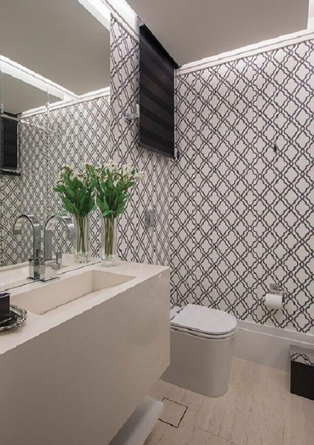 papel de parede para banheiro branco  Foto Pinterest