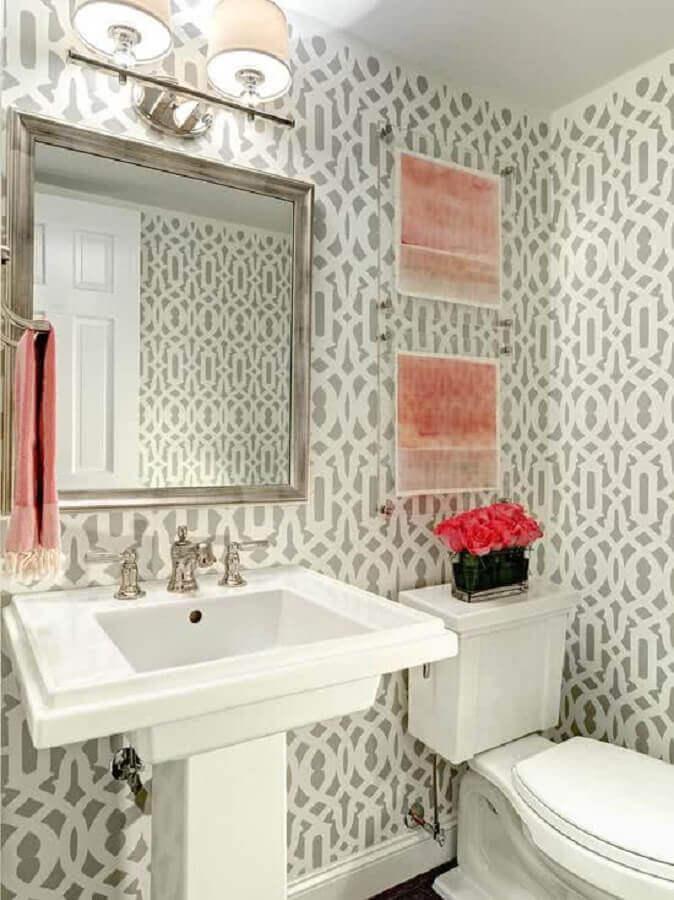 papel de parede para banheiro branco com estilo vintage Foto Pinterest