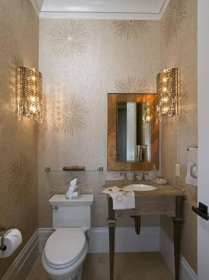 papel de parede para banheiro pequeno e sofisticado  Foto Homedit