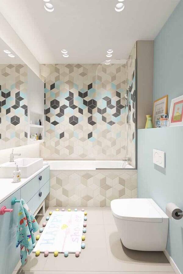 parede com formas geométricas para banheiro azul e cinza pequeno  Foto Behance